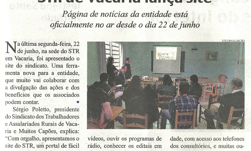 STR de Vacaria lança site