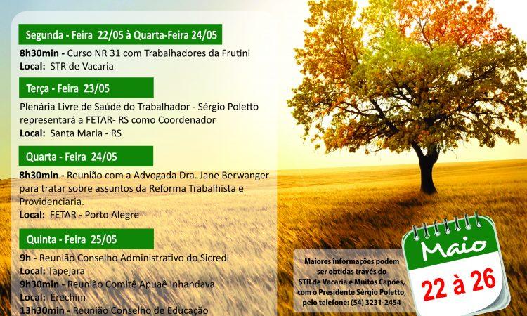 Agenda da Semana de 22 a 26 de maio