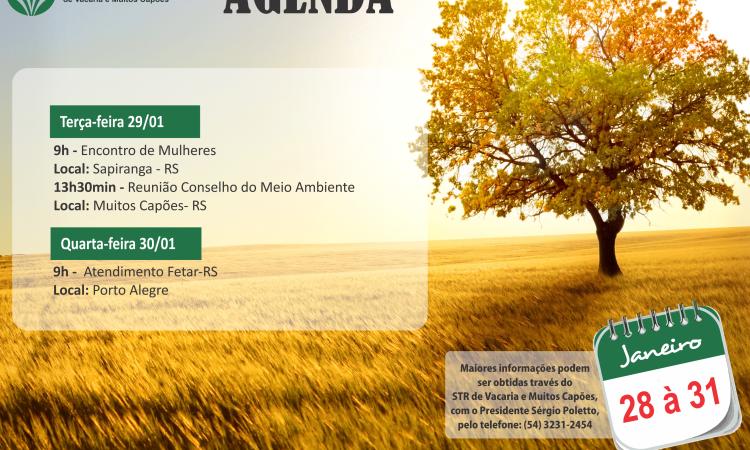 Agenda de 28 a 31 de Janeiro 2019