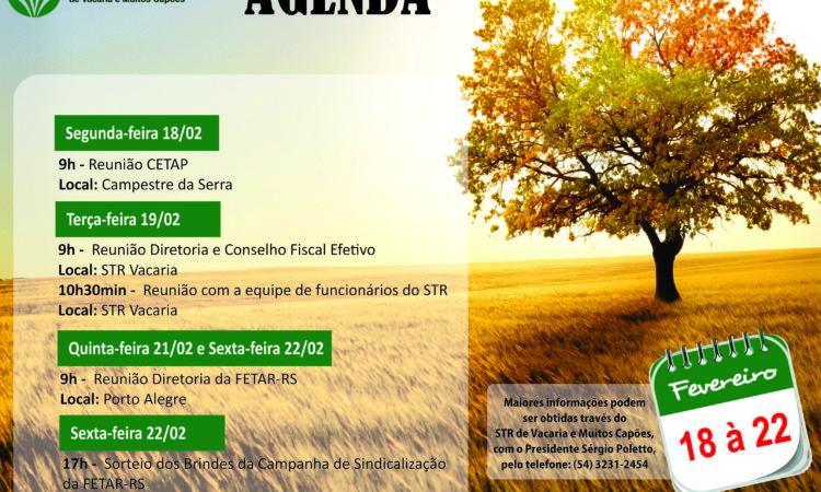 Agenda dessa semana – De 18 à 22 de Fevereiro
