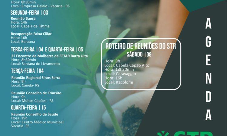 Compromissos do STR de 03 a 08 de junho