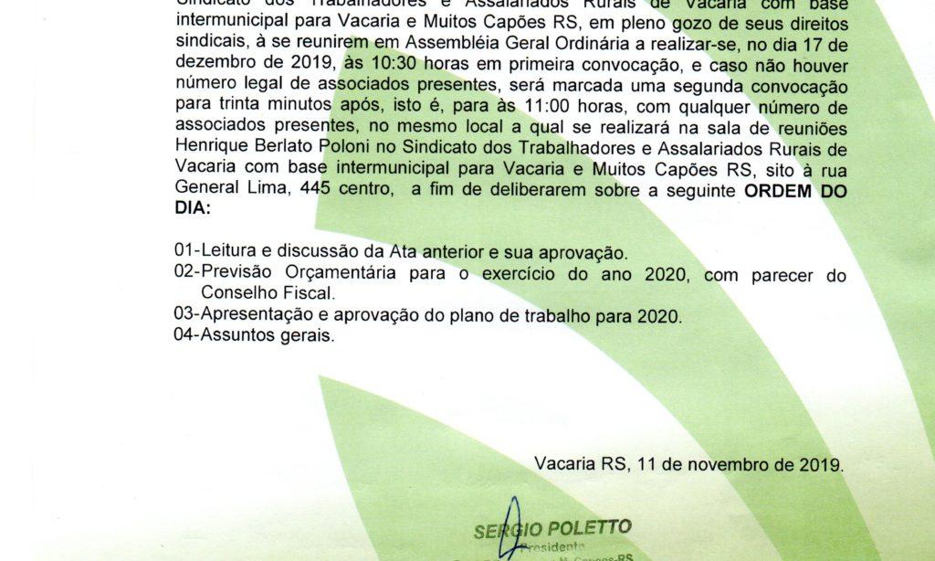 Edital de Convocação Assembleia Geral Ordinária 17 de dezembro